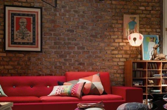 Decorador / Aposte na parede com tijolos aparentes