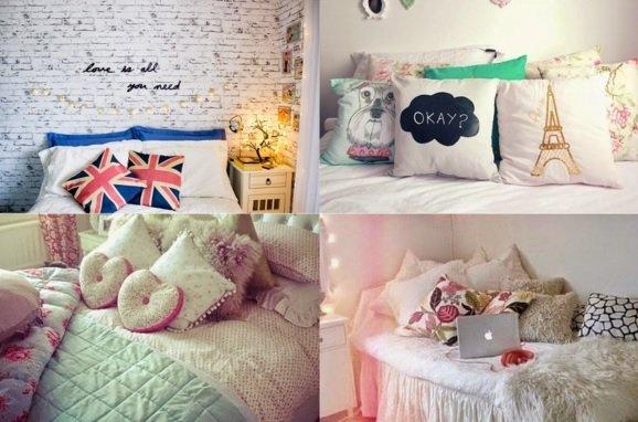 almofadas no quarto