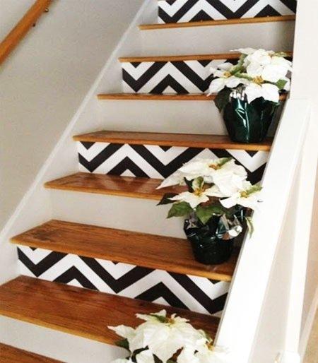papel de parede na escada